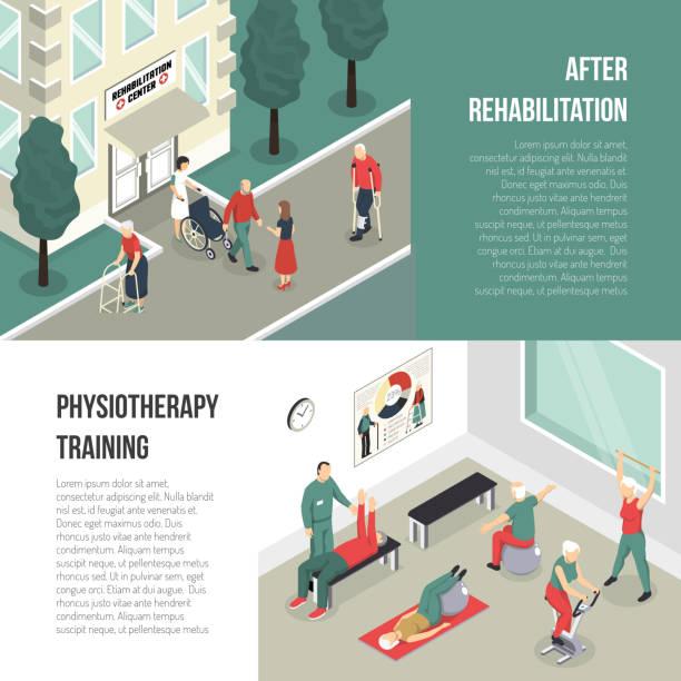 изометрические реабилитационные баннеры - physical therapy stock illustrations