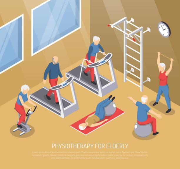 изометрическая реабилитационная иллюстрация - physical therapy stock illustrations