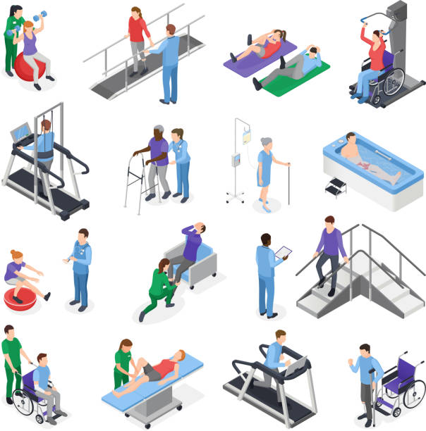 isometric rehabilitation physiotherapy set Physiotherapy rehabilitation clinic  isometric icons set with nursing staff treatment equipment simulators patient recovery isolated vector illustration physical therapy stock illustrations