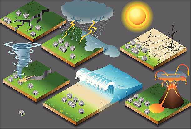 isometric representation of natural disaster on button flag - tidal wave stock illustrations, clip art, cartoons, & icons