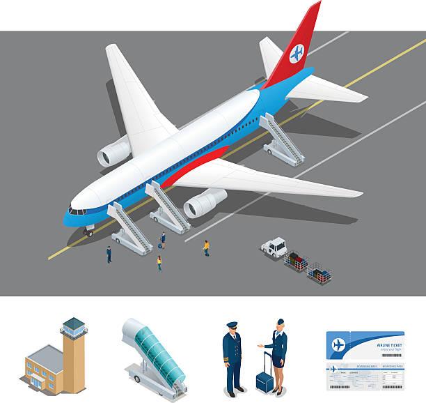 stockillustraties, clipart, cartoons en iconen met isometric representing airport, international airlines - airport pickup