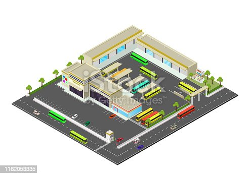isometric representing bus station. vector illustrations
