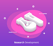 Research and development isometric design concept with modern style gradients. Vector design elements useful for web banner or poster.