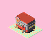 Isometric retro diner icon illustration with details such as retro signage, flower buckets, building features, sundae glasses, stairs and food menu. Vector. Isolated on colored background.