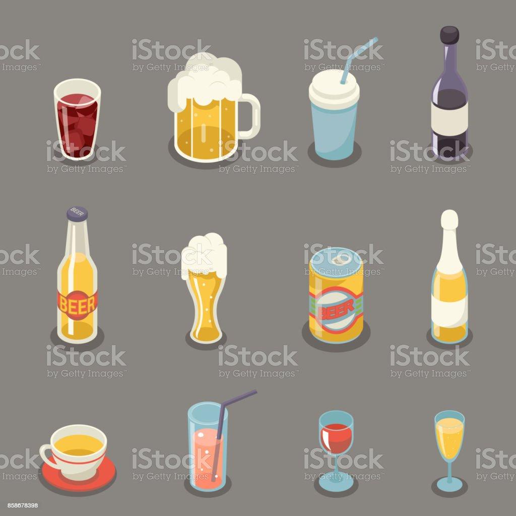 Isometrische Retro-flache Alkohol Bier Saft Tee Wein trinken Icons und Symbole gesetzt Vektor-Illustration – Vektorgrafik