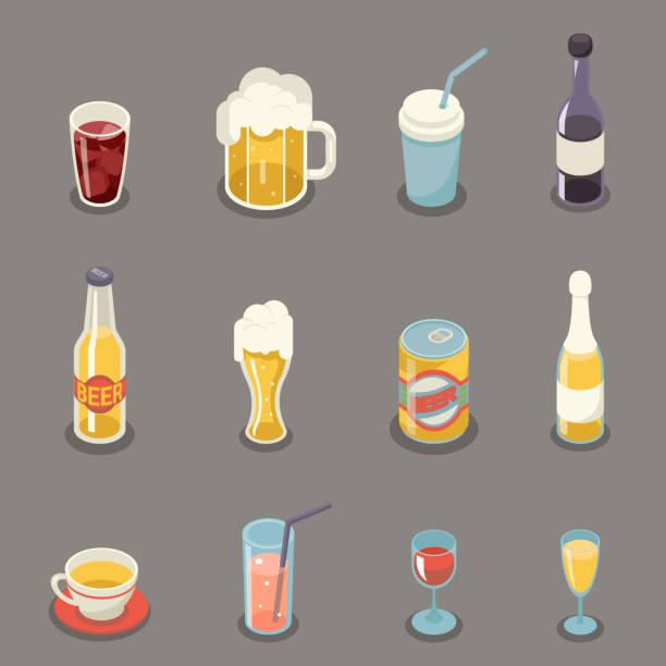 illustrazioni stock, clip art, cartoni animati e icone di tendenza di isometric retro flat alcohol beer juice tea wine drink icons and symbols set vector illustration - bottle soft drink