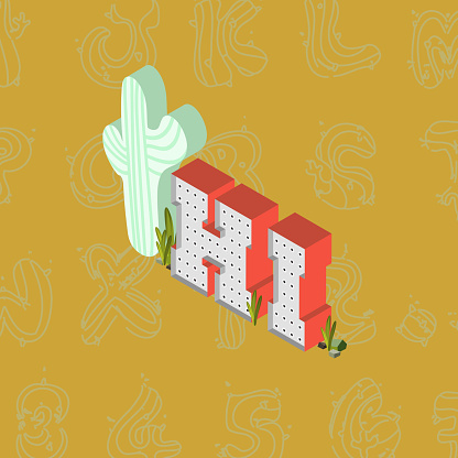 Retro box letter sign with cactus. Vector. Isolated on colored background.