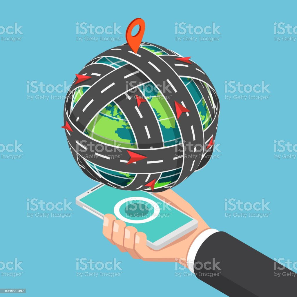 Isometric road circled around the world that floating on smartphone vector art illustration