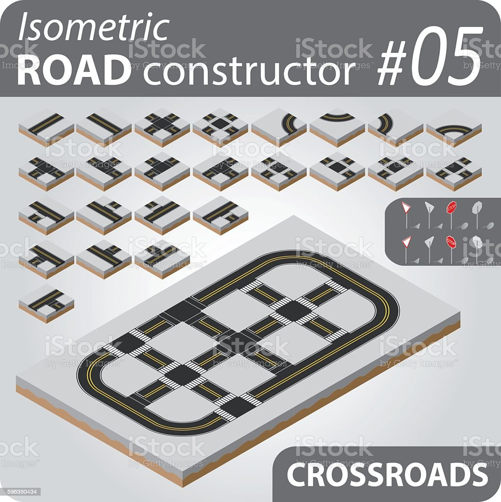 Isometric road constructor - 05 royalty-free isometric road constructor 05 stock vector art & more images of avenue