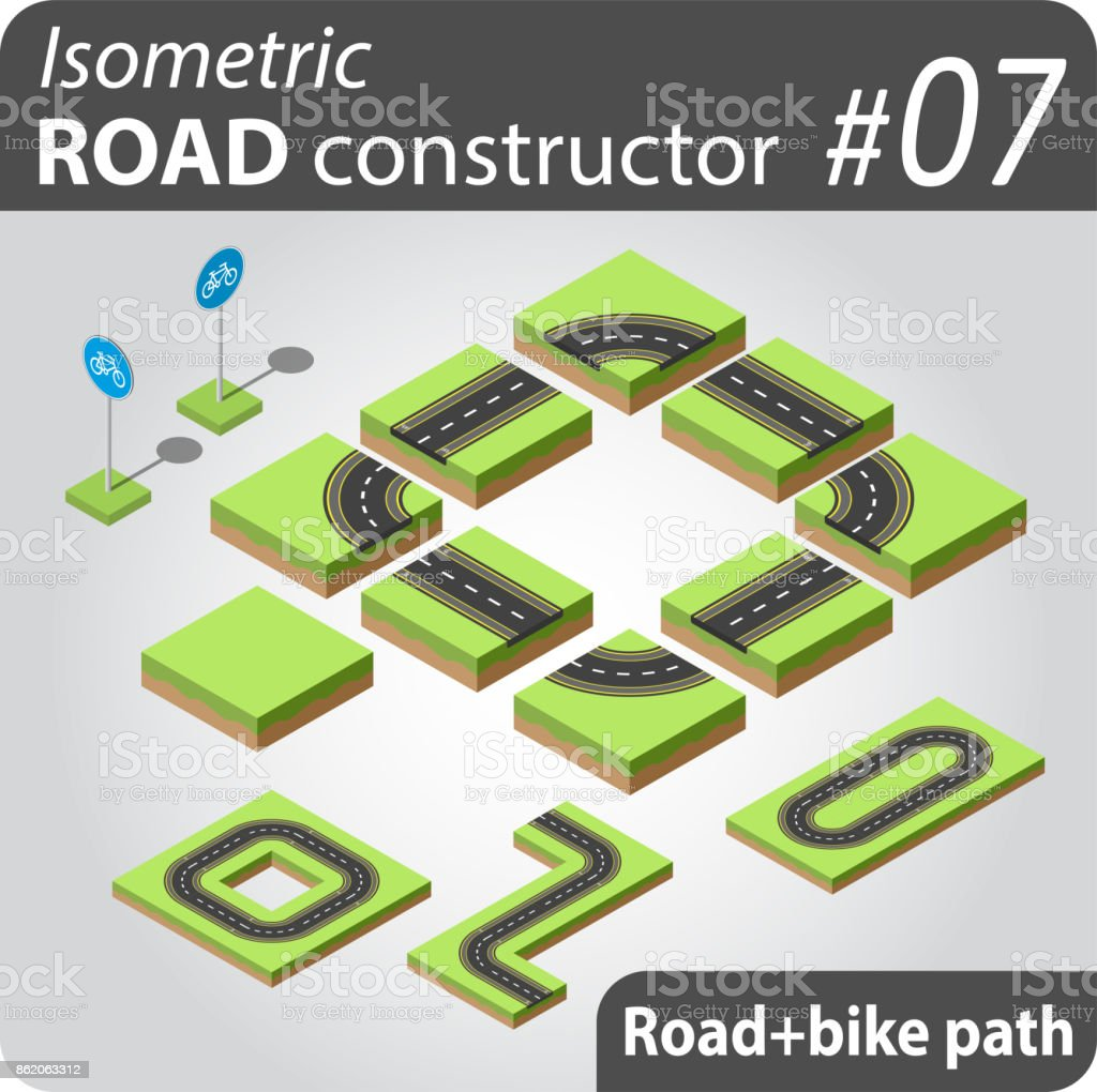 Isometric Road Constructor Stock Illustration - Download