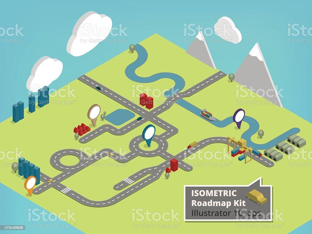 Isometric Straßenkarte Design-Elemente und Illustrationen  – Vektorgrafik