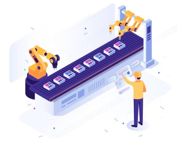 izometryczna fabryka robotów. inżynier obsługuje przenośnik zrobotyzowany, automatyczne ramię robota i ilustrację wektorową do produkcji przemysłowej - produkować stock illustrations