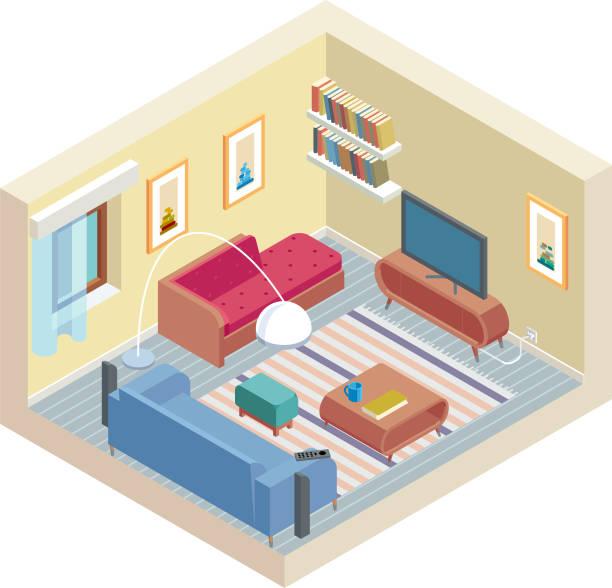 アイソメ室 - リビング点のイラスト素材/クリップアート素材/マンガ素材/アイコン素材
