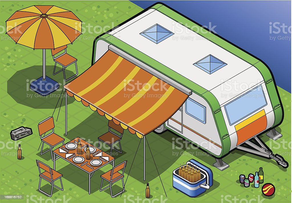 Isometric Roulotte in Camping royalty-free stock vector art