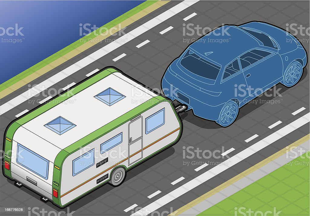 Isometric Roulotte  on the Way in Rear View royalty-free stock vector art