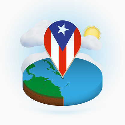 Isometric round map of Puerto Rico and point marker with flag of Puerto Rico. Cloud and sun on background.
