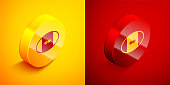 Isometric Rugby ball icon isolated on orange and red background. Circle button. Vector.