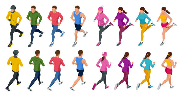 isometric running people. front and rear view. people are dressed in summer, winter, autumn, spring sports uniform - running stock illustrations