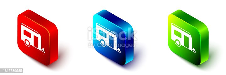 istock Isometric Rv Camping trailer icon isolated on white background. Travel mobile home, caravan, home camper for travel. Red, blue and green square button. Vector 1317789585