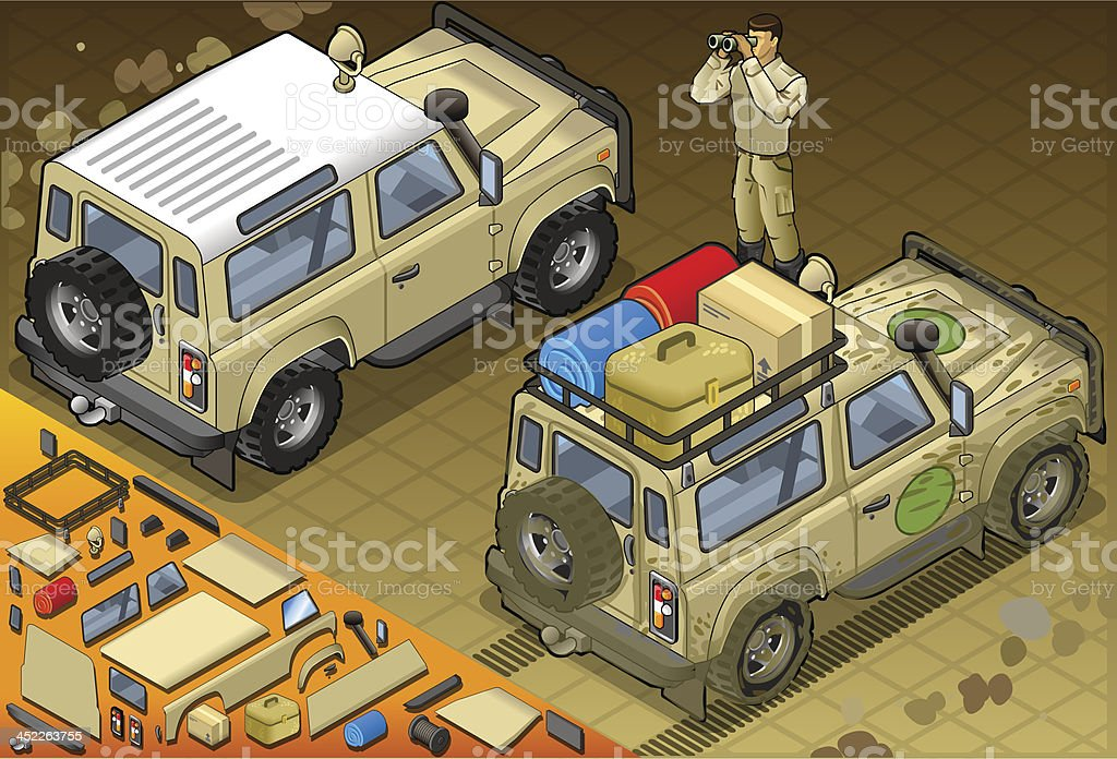 Isometric Safari Jeep with Guide in Rear View royalty-free stock vector art