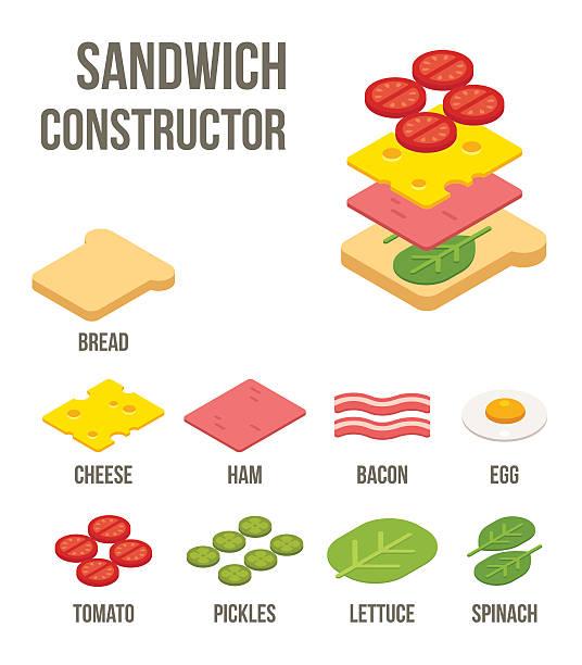 illustrazioni stock, clip art, cartoni animati e icone di tendenza di isometrici ingredienti panino - panino