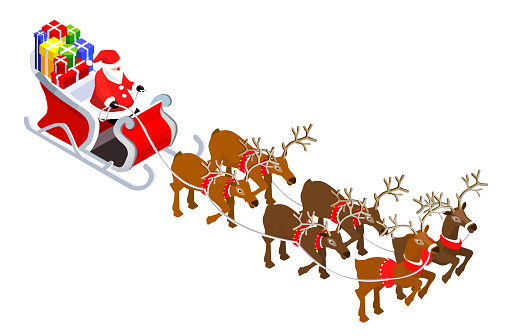 Isometric Santa Claus Grandfather Frost on Sleigh Reindeer with lots of  Gifts.New Year, Christmas concept Flat Design Icon