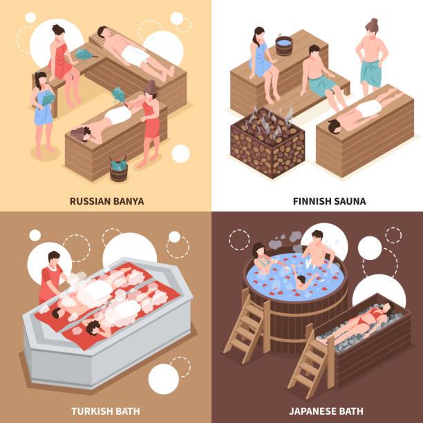 bildbanksillustrationer, clip art samt tecknat material och ikoner med isometrisk bastu badhus designkoncept - japanese bath woman