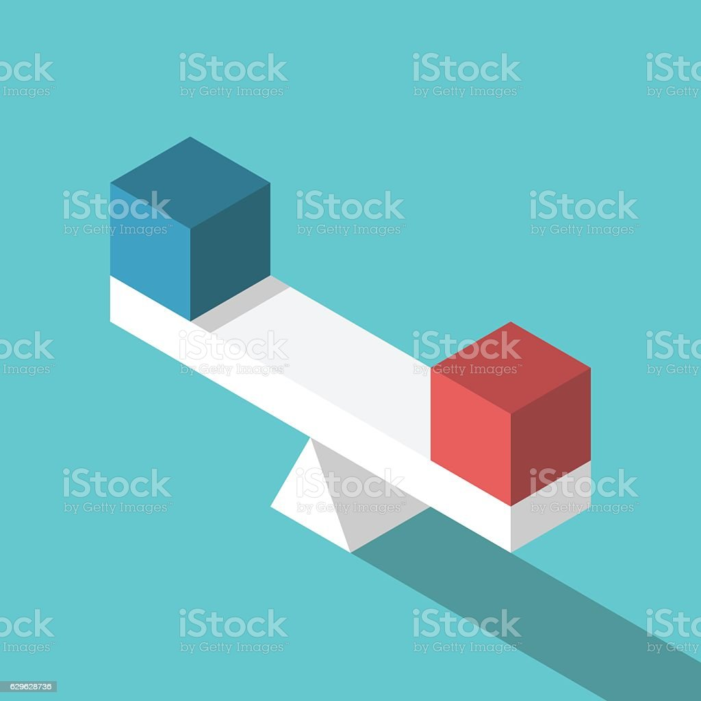 Isometric scales with cubes vector art illustration