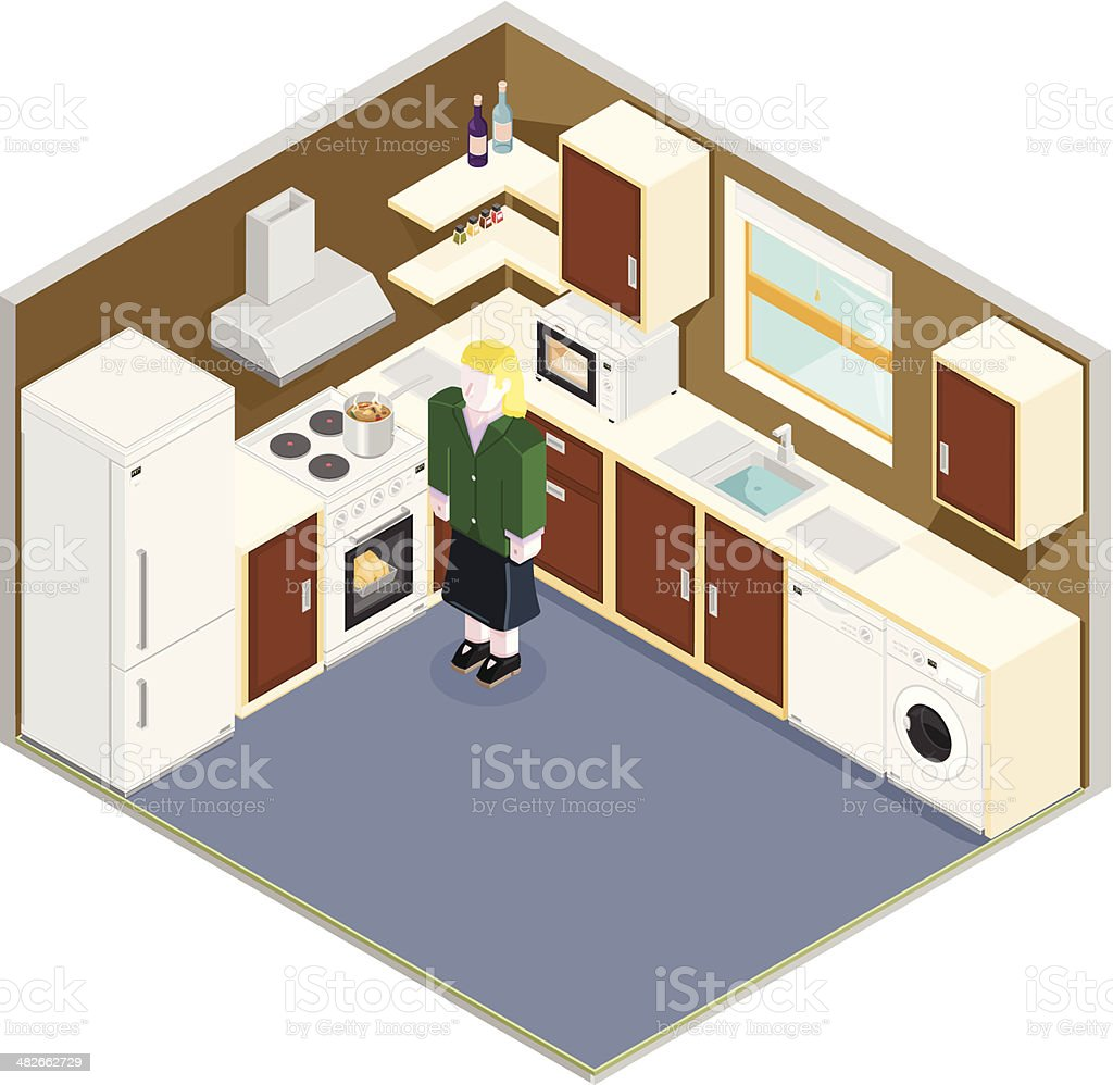 Isometric Scene of Mother cooking in a Kitchen royalty-free stock vector art