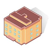 A vector illustration of an Isometric School Building.