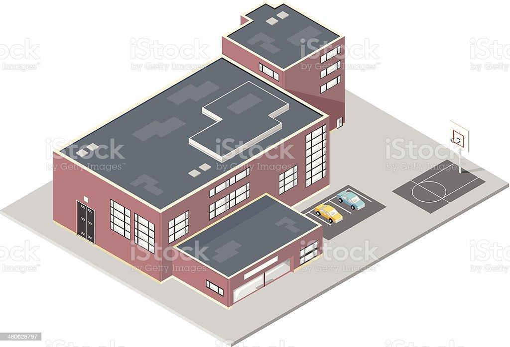 Isometric School Building royalty-free stock vector art