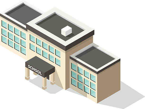 isometric school-gebäude - grundschule stock-grafiken, -clipart, -cartoons und -symbole