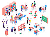 Isometric school. Children and teacher in classroom, students in schools library and education classroom. Pupils social communication on math lesson. Isolated vector 3d illustration icons set