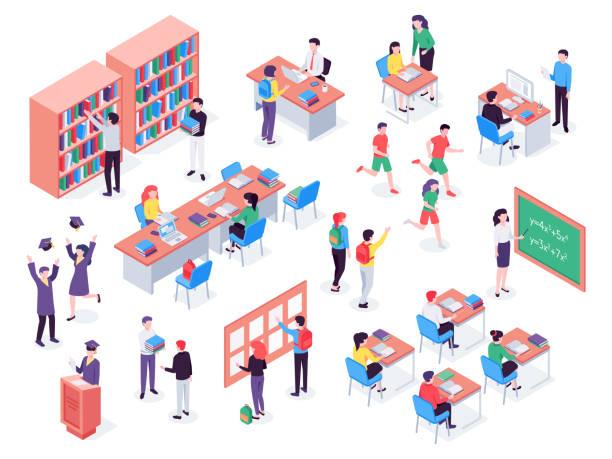 bildbanksillustrationer, clip art samt tecknat material och ikoner med isometrisk skola. barn och lärare i klassrummet, elever i skolan bibliotek och utbildning klassrummet vektor 3d illustration set - klassrum