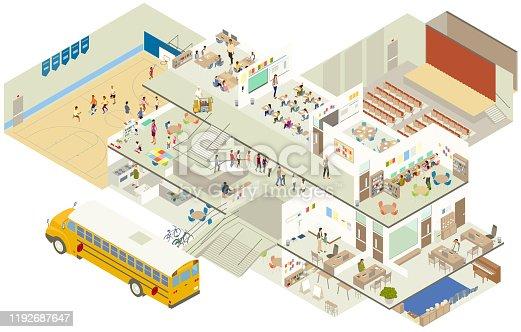 istock Isometric school cutaway illustration 1192687647