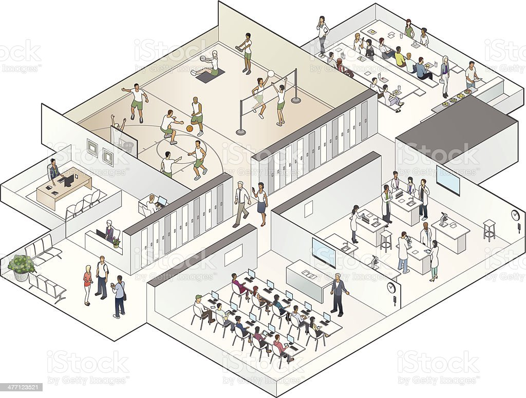 Isometric School Cutaway Illustration vector art illustration