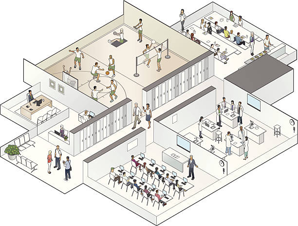 isometric school cutaway illustration - high school sports stock illustrations