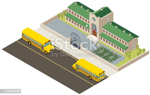 Vector illustration of school building and school bus in isometric perspective