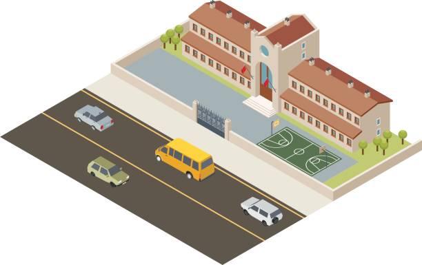 isometric school - grundschule stock-grafiken, -clipart, -cartoons und -symbole