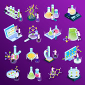 Collection with science research isometric glow icons with colourful liquids in glass tubes computers amd molecules vector illustration