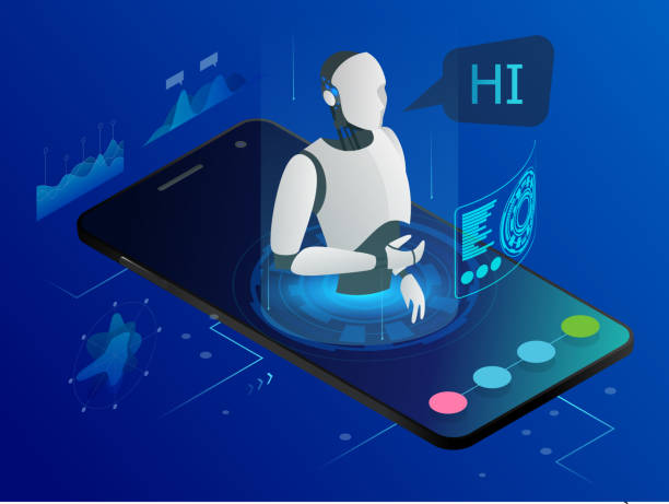 illustrazioni stock, clip art, cartoni animati e icone di tendenza di isometric science teacher bot concept. artificial intelligence, knowledge expertise intelligence learn. technology and engineering. online training banner. - video call