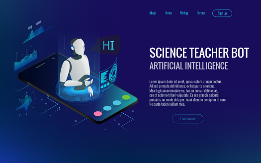 Isometric Science teacher bot concept. Artificial Intelligence, Knowledge Expertise Intelligence Learn. Technology and engineering. Online training banner clipart