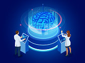 Isometric scientific development of Artificial Intelligence concept. Electric brain. Laboratory researching brain. vector illustration.
