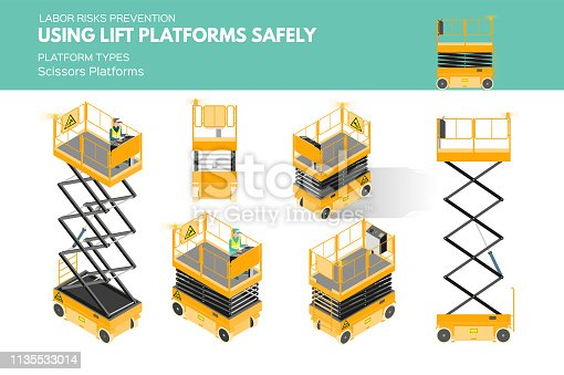 Isometric white isolated lift platforms labor risk prevention information about platform types on scissors platform