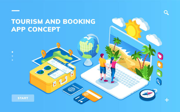 Isometric screen for online hotel reservation or flight booking, traveling or vacation planning smartphone application. Man and woman buying trip. Tourism and journey, recreation, travel app concept Isometric screen for online hotel reservation or flight booking, traveling or vacation planning smartphone application. Man and woman buying trip. Tourism and journey, recreation, travel app concept travel agents stock illustrations