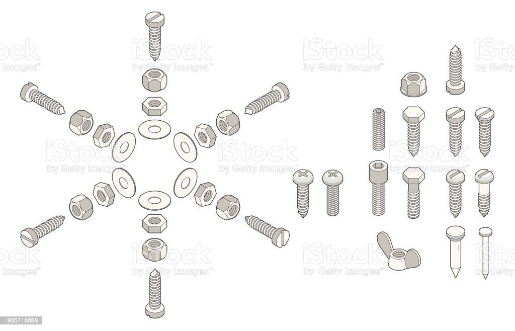 isometric screws - Grafika wektorowa royalty-free (Bez ludzi)