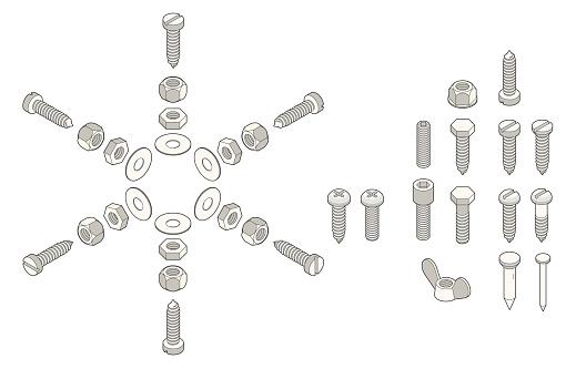 Isometric Screws - Stockowe grafiki wektorowe i więcej obrazów Bez ludzi
