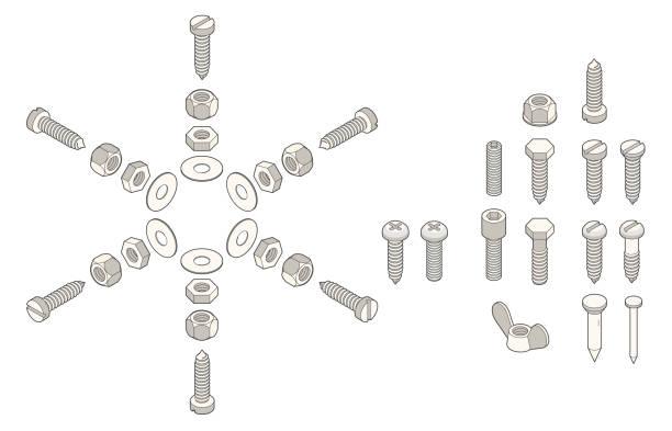 isometric screws - nuts stock illustrations
