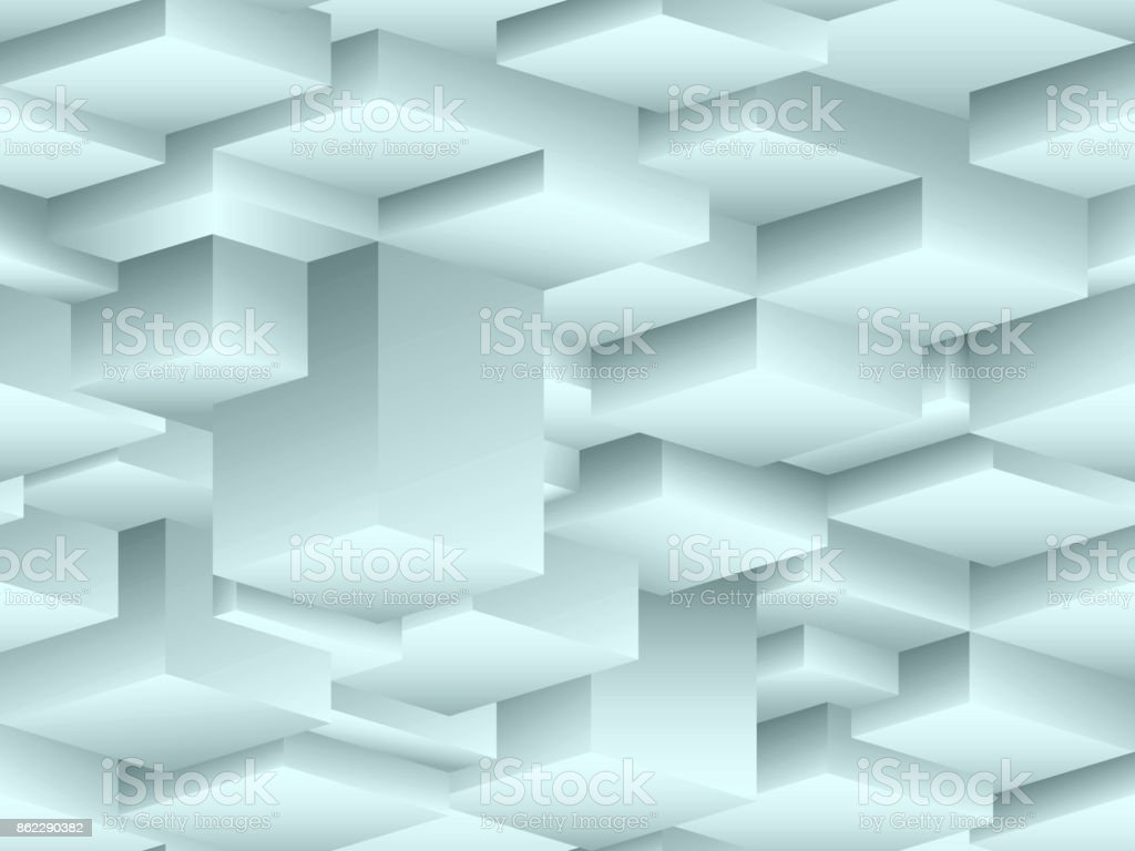 Isometric seamless pattern in the style of cubism vector art illustration