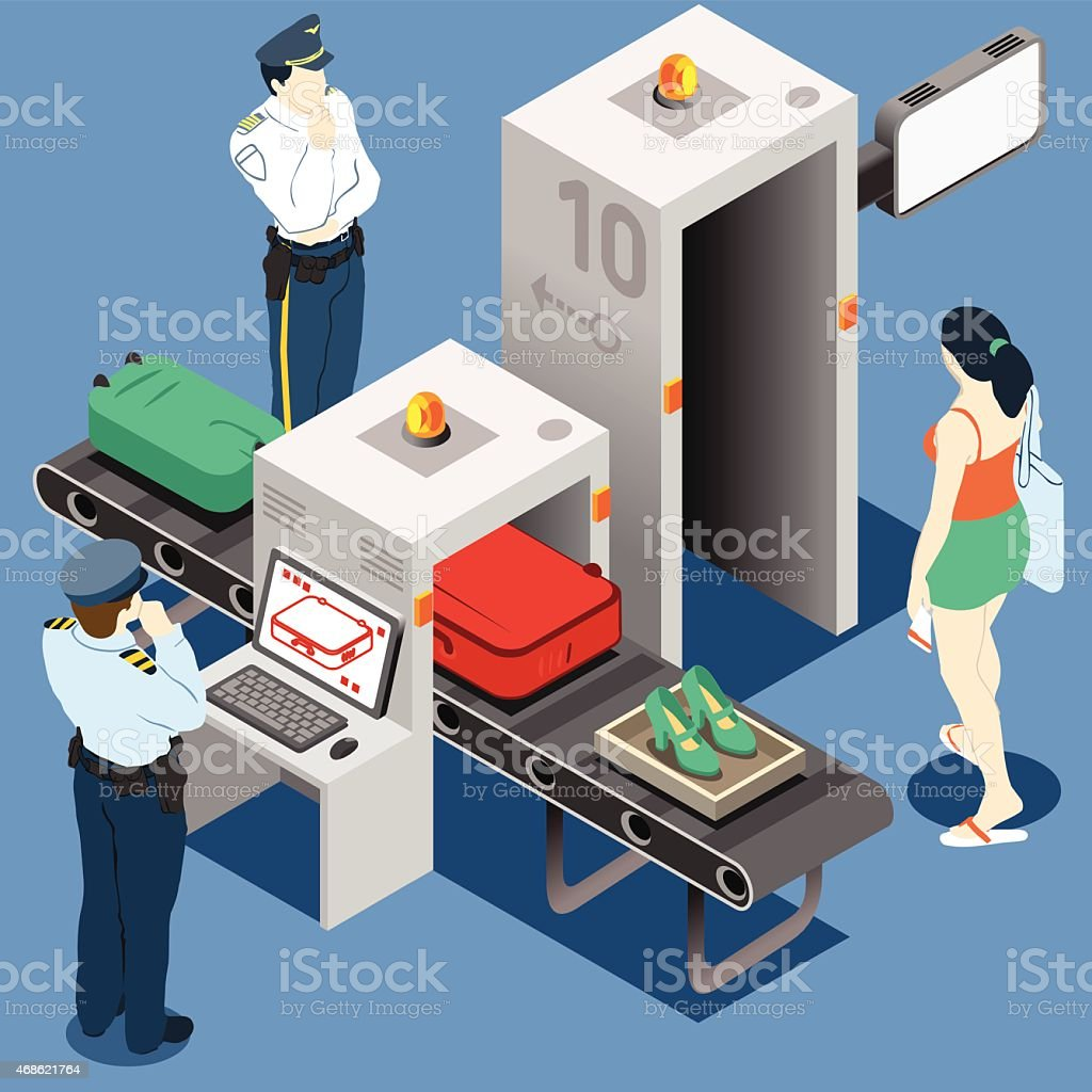 Isometric Security Checkpoint Machine vector art illustration
